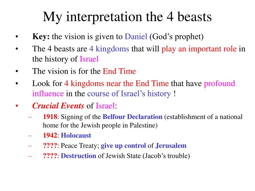My interpretation the 4 beasts
