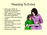 reacting to errors