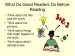 what do good readers do before reading