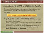 introduction to m sharp to nalcomis transfer