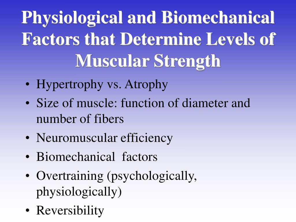 Physiological and Biomechanical Factors that Determine Levels of Muscular Strength