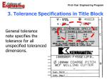 3 tolerance specifications in title block