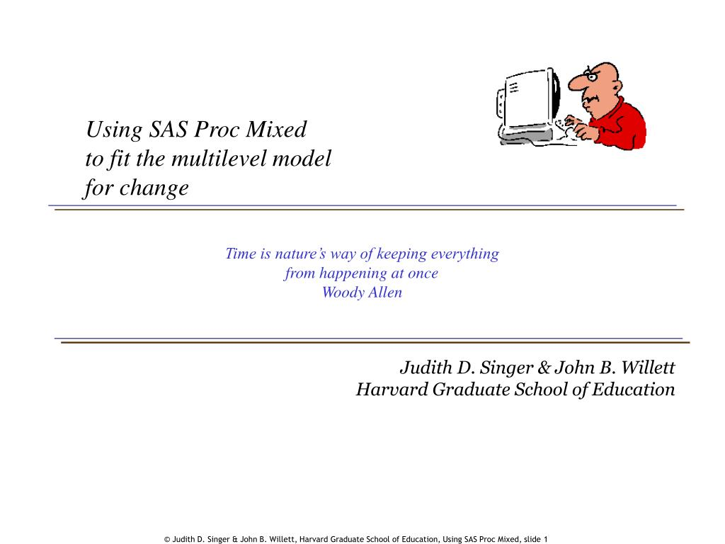 using sas proc mixed to fit the multilevel model for change l.