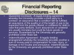 financial reporting disclosures 14