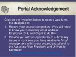 portal acknowledgement