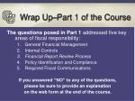 wrap up part 1 of the course