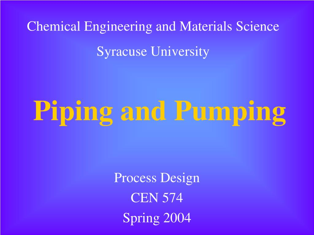 piping and pumping l.