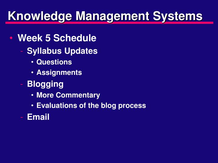 knowledge management systems n.