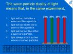 the wave particle duality of light means that in the same experiment