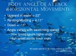 body angle of attack horizontal movement