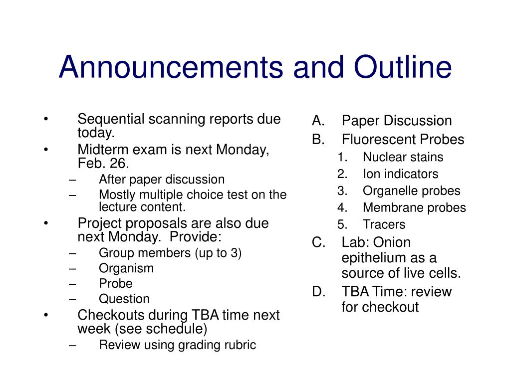 announcements and outline l.
