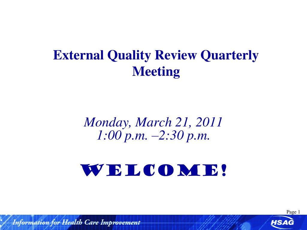 external quality review quarterly meeting l.