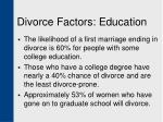 divorce factors education