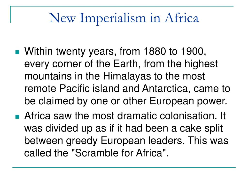 New Imperialism in Africa