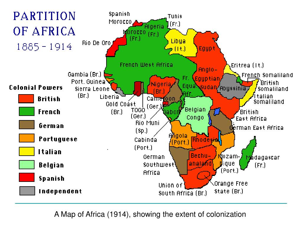 A Map of Africa (1914), showing the extent of colonization