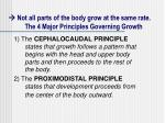 not all parts of the body grow at the same rate the 4 major principles governing growth