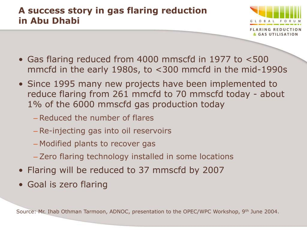 A success story in gas flaring reduction