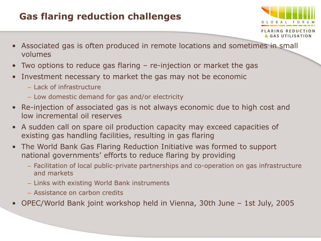 Gas flaring reduction challenges