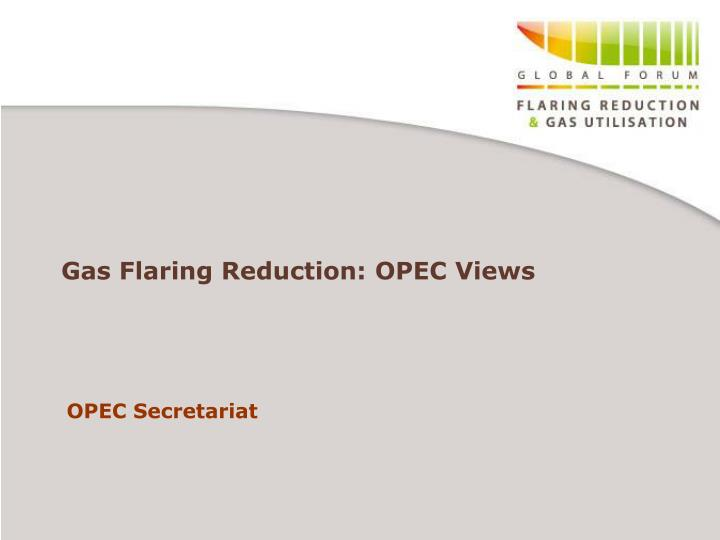 Gas flaring reduction opec views