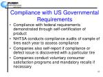 compliance with us governmental requirements