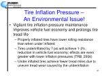 tire inflation pressure an environmental issue