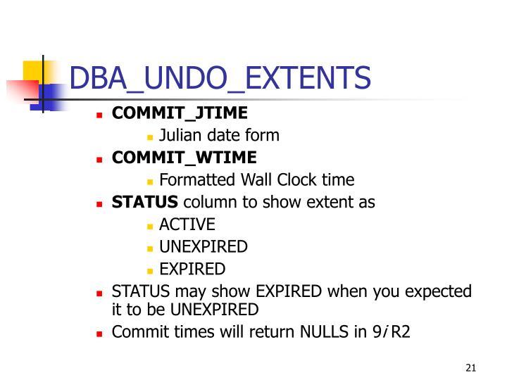 DBA_UNDO_EXTENTS