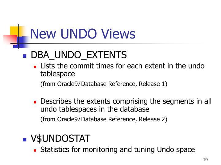 New UNDO Views