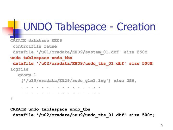 UNDO Tablespace - Creation