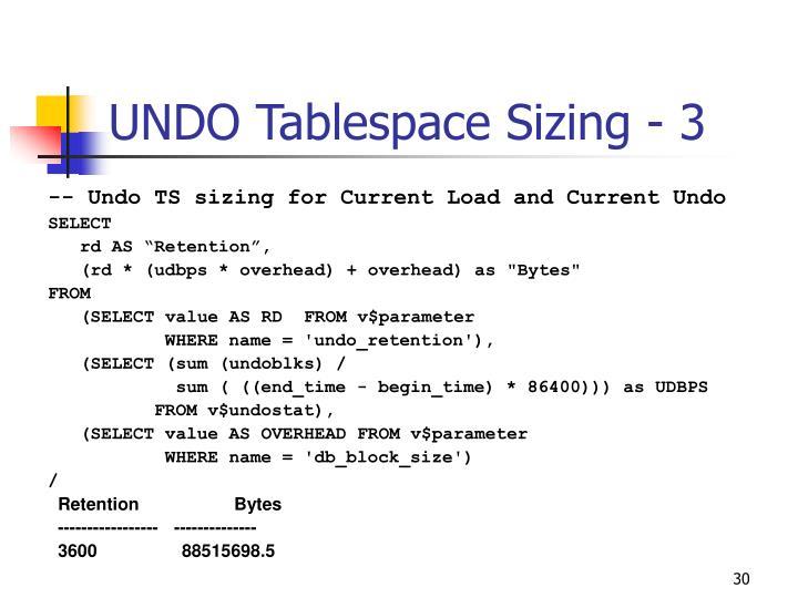 UNDO Tablespace Sizing - 3