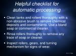 helpful checklist for automatic processing