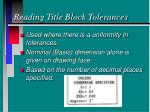 reading title block tolerances