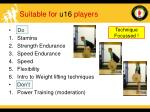 suitable for u16 players