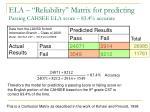 ela reliability matrix for predicting passing cahsee ela score 83 4 accurate