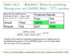 math all reliability matrix for predicting passing score on cahsee math 72 7 accurate