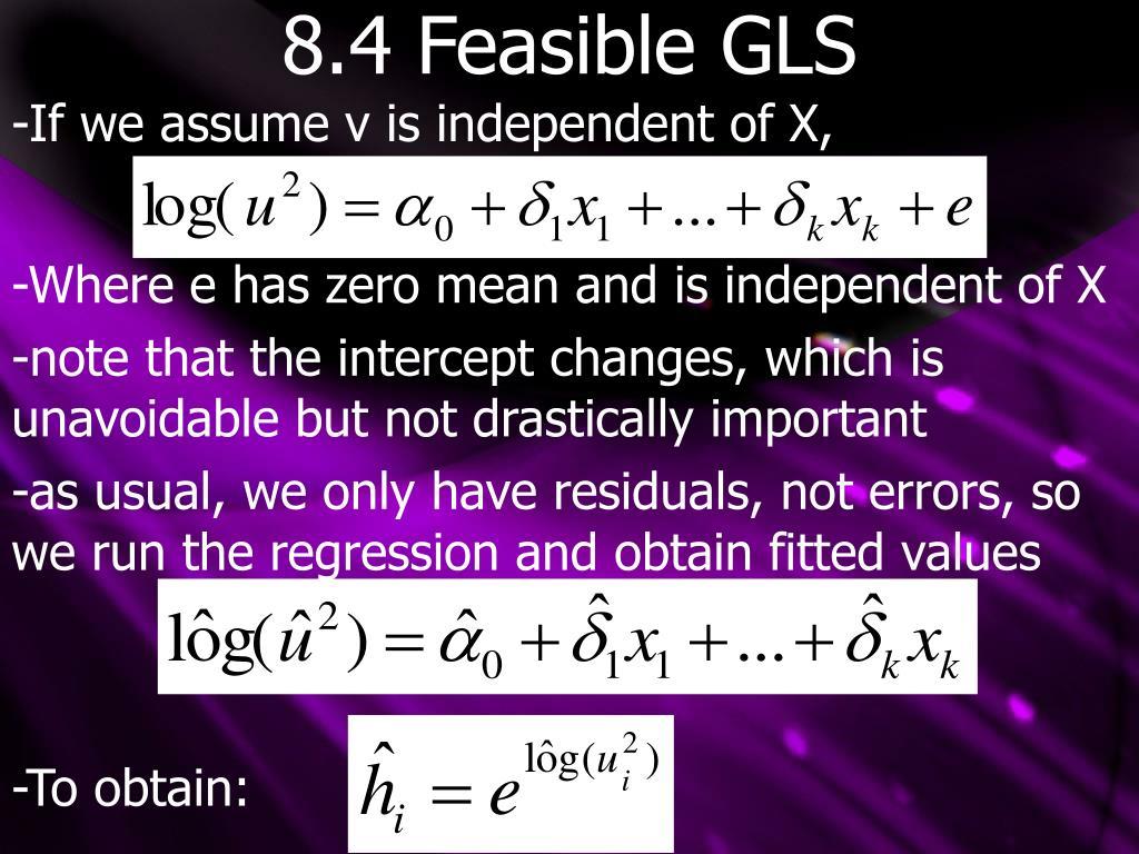8.4 Feasible GLS
