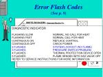 error flash codes see p 9