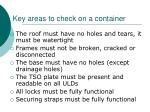 key areas to check on a container