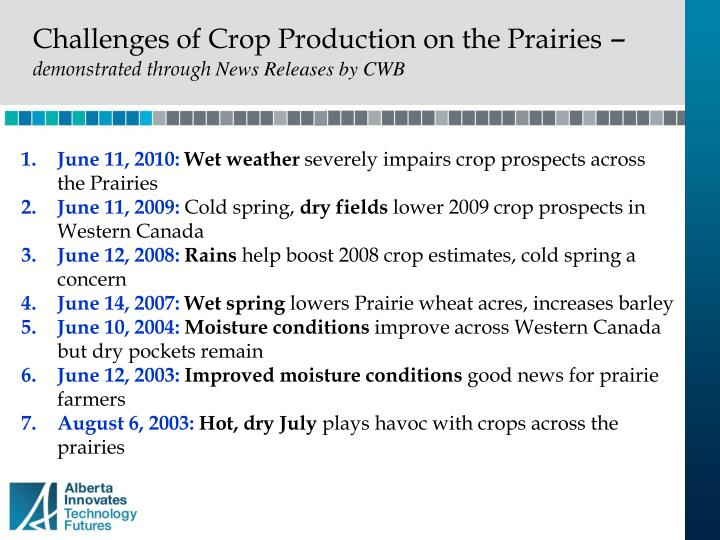Challenges of Crop Production on the Prairies