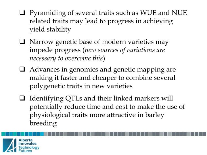 Pyramiding of several traits such as WUE and NUE related traits may lead to progress in achieving yield stability
