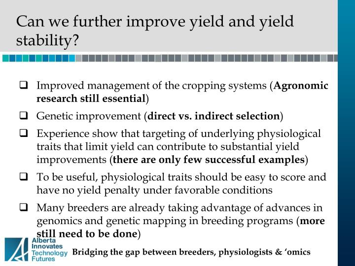 Can we further improve yield and yield stability?