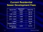 current residential sewer development fees