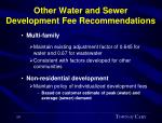 other water and sewer development fee recommendations