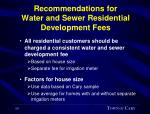 recommendations for water and sewer residential development fees