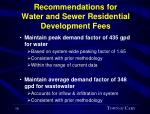 recommendations for water and sewer residential development fees16