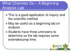 what chemists do a beginning analysis lab
