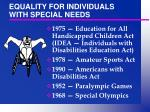 equality for individuals with special needs