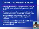 title ix compliance areas