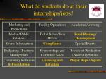 what do students do at their internships jobs