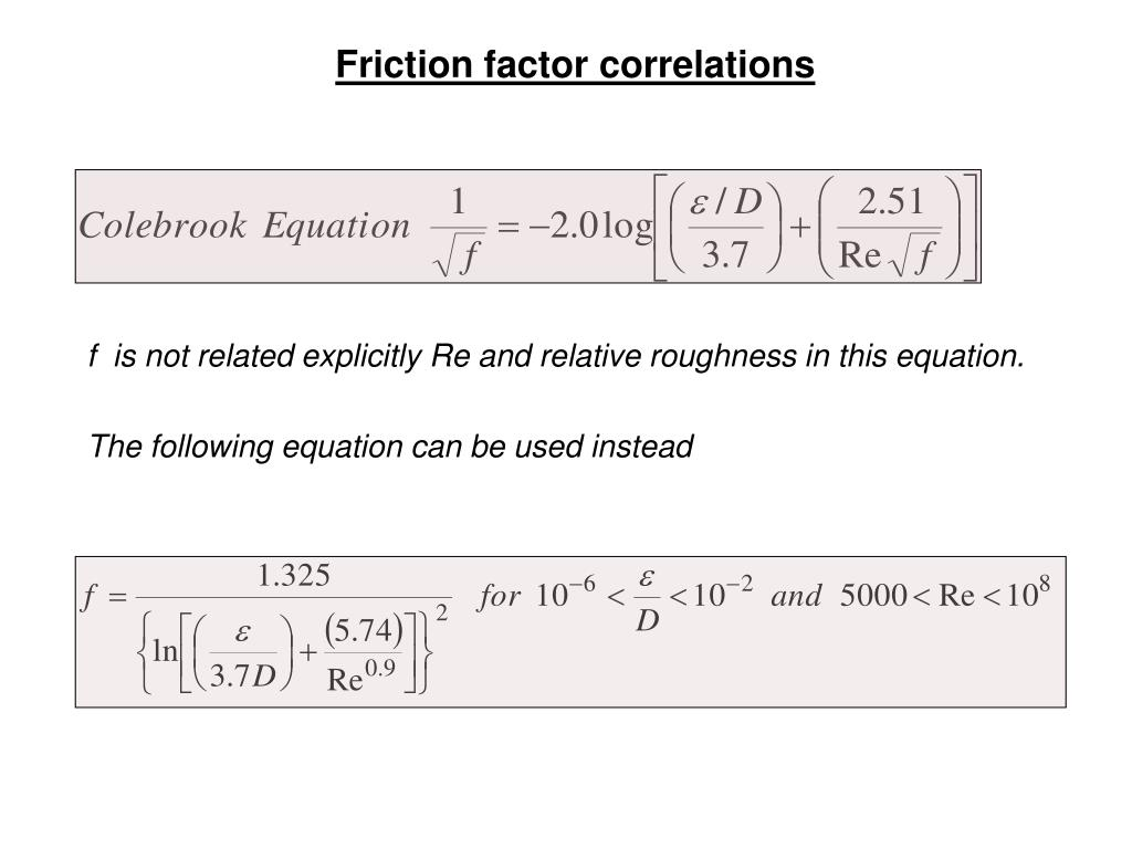 Friction factor correlations