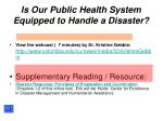 is our public health system equipped to handle a disaster